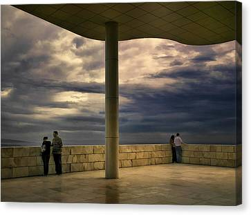 Watching The Storm At The Getty Canvas Print by Lynn Andrews