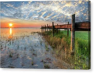 Florida Bridge Canvas Print - Watching The Sun Rise by Debra and Dave Vanderlaan
