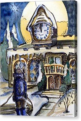 Watching The Village Clock Canvas Print by Mindy Newman