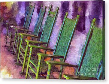 Rocking Chairs Canvas Print - Watching The World Go By by Lois Bryan