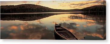 Water And Boat, Maine, New Hampshire Canvas Print