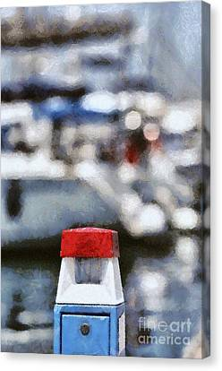 Yachts Canvas Print - Water And Electricity Supply Station With Lantern On Top by George Atsametakis