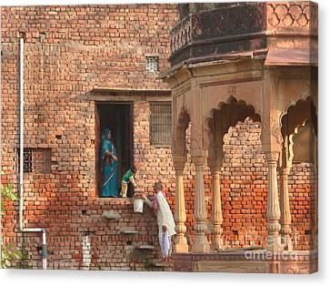 Canvas Print featuring the photograph Water Delivery In Vrindavan by Jean luc Comperat