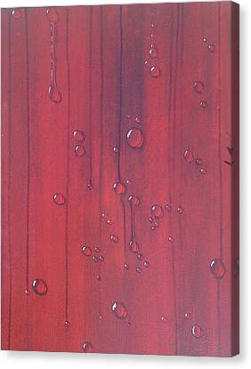 Water Drops On Red Canvas Print