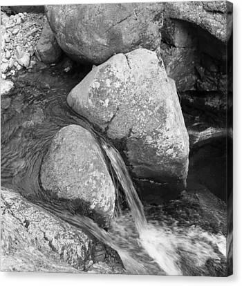 Water Flowing Around Rock  Baxter State Park Maine Canvas Print by Richard Singleton
