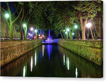 Canvas Print featuring the photograph Water Fountain At Night by Scott Carruthers