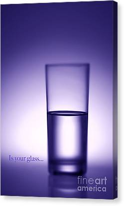 Water Glass Half Full Or Half Empty. Canvas Print