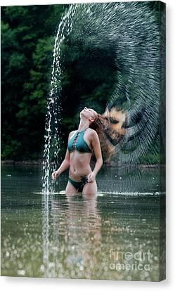 Water Hair Flip By Patty Canvas Print by Dan Friend