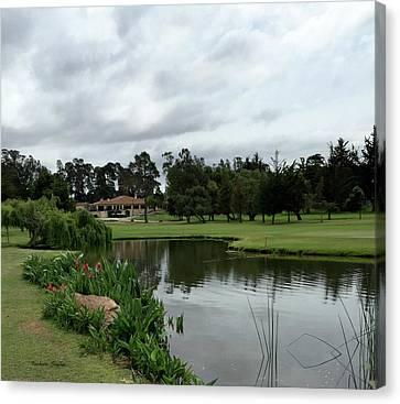 Water Hazard At Number Five Santa Maria Country Club 2 Canvas Print by Barbara Snyder
