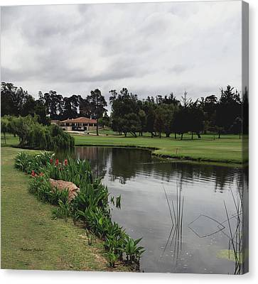 Water Hazard At Number Five Santa Maria Country Club Canvas Print by Barbara Snyder