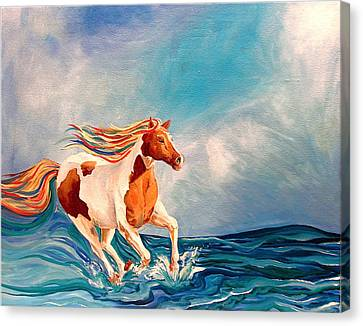 Water Horse Canvas Print by Rebecca Robinson