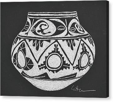 Water Jug - San Ildefonso Circa 1900 Canvas Print by Diane Cutter