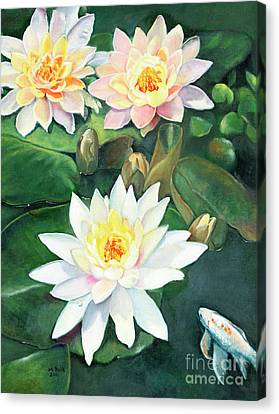 Canvas Print featuring the painting Water Lilies And Koi by Marlene Book