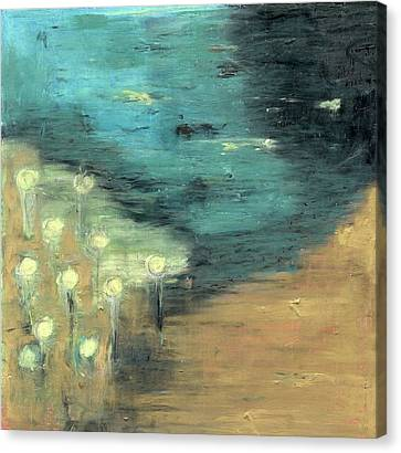 Canvas Print featuring the painting Water Lilies At The Pond by Michal Mitak Mahgerefteh