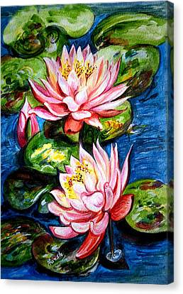 Canvas Print featuring the painting Water Lilies  by Harsh Malik