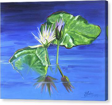 Canvas Print - Water Lilies In Blue by Irek Szelag