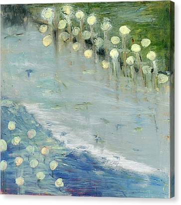Canvas Print featuring the painting Water Lilies by Michal Mitak Mahgerefteh