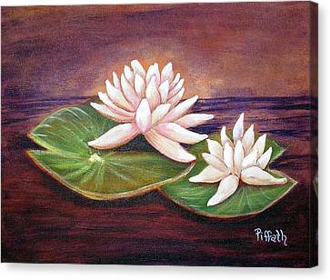 Canvas Print featuring the painting Water Lilies by Patricia Piffath
