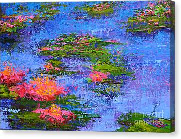 Waterlilies Lily Pads - Modern Impressionist Landscape Palette Knife Work Canvas Print by Patricia Awapara