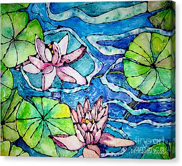 Tropical Colors Stain Glass Canvas Print - Water Lilies Stained Glass Watercolor by Caitlin Lodato