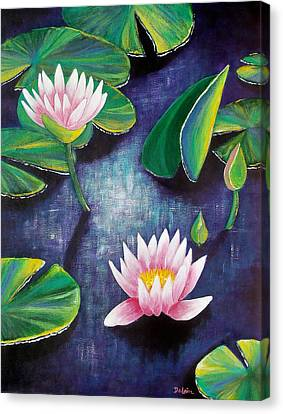 Canvas Print featuring the painting Water Lilies by Susan DeLain