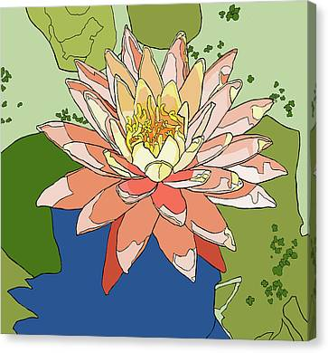 Water Lily And Duck Weed Canvas Print by Jamie Downs