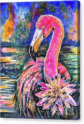 Canvas Print featuring the painting Water Lily And Flamingo by Zaira Dzhaubaeva