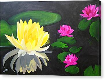 Water Lily Pond  Canvas Print by Una  Miller