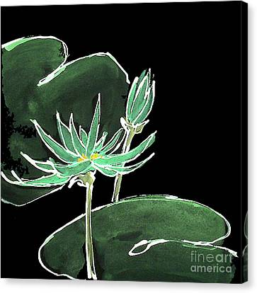 Water Lily-teal Canvas Print