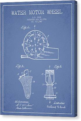 Water Motor Wheel Patent From 1906 - Light Blue Canvas Print by Aged Pixel