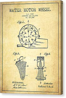 Water Motor Wheel Patent From 1906 - Vintage Canvas Print by Aged Pixel