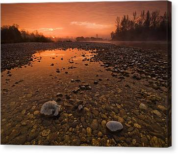 Red Skies Canvas Print - Water On Mars by Davorin Mance