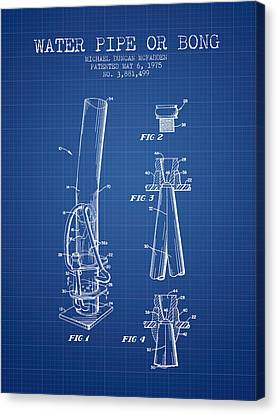 Water Pipe Or Bong Patent 1975 - Blueprint Canvas Print