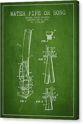 Water Pipe Or Bong Patent 1975 - Green Canvas Print