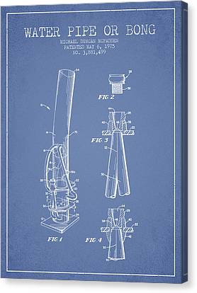 Water Pipe Or Bong Patent 1975 - Light Blue Canvas Print