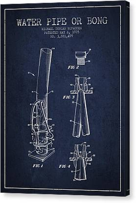 Water Pipe Or Bong Patent 1975 - Navy Blue Canvas Print