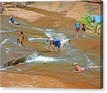 Canvas Print featuring the mixed media Water Play 3 by Lynda Lehmann