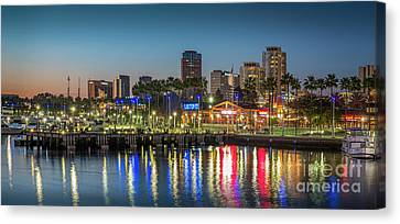 Water Reflecting Lights Sunset Long Beach Ca Canvas Print