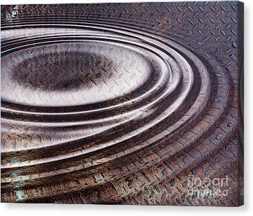 Canvas Print featuring the digital art Water Ripple On Rusty Steel Plate  by Michal Boubin