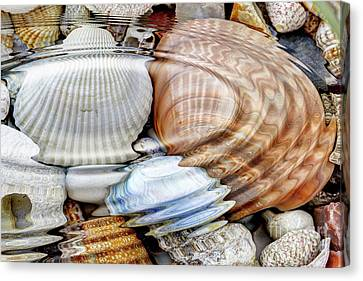 Water Ripples Over The Stone Pebbles Canvas Print by Michal Boubin