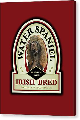 Caricature Canvas Print - Water Spaniel Irish Bred Premium Lager by John LaFree