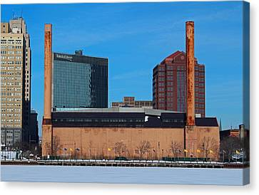 Water Street Steam Plant In Winter Canvas Print by Michiale Schneider