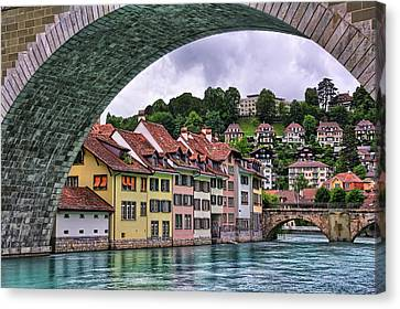 Water Under The Bridge In Bern Switzerland Canvas Print by Carol Japp