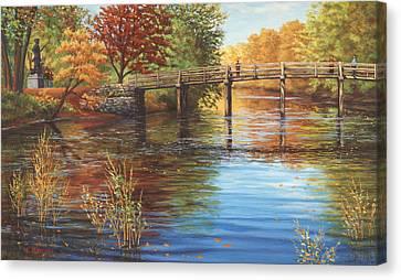 Water Under The Bridge Old North Bridge Ma Canvas Print by Elaine Farmer
