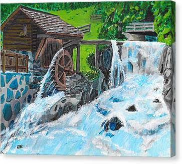 Water Wheel Canvas Print by David Bigelow