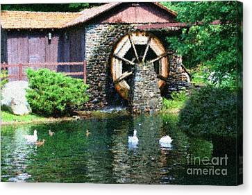 Canvas Print featuring the painting Water Wheel Duck Pond by Smilin Eyes  Treasures