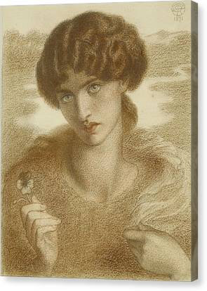 Water Willow - Study Of Female Head And Shoulders Canvas Print by Dante Gabriel Rossetti