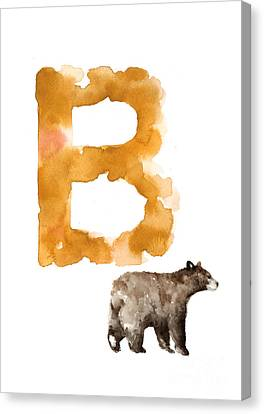 Watercolor Alphabet Bear Poster Canvas Print by Joanna Szmerdt