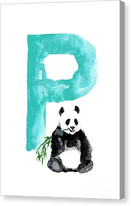 Panda Canvas Print - Watercolor Alphabet Giant Panda Poster by Joanna Szmerdt