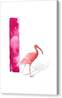 Watercolor Alphabet Pink Ibis Poster Canvas Print by Joanna Szmerdt